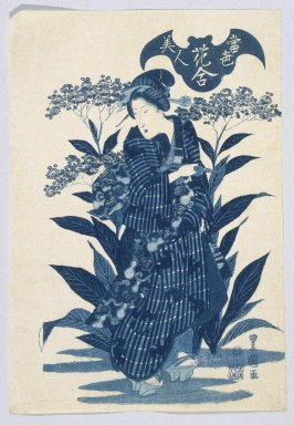 Gosotei Toyokuni II (Japanese, 1802-1835). <em>Beauties of the Latest Fashion Compared with the Beauty of Flowers (Tosei Bijin), from Flower Playing Cards (Hana-awase)</em>, ca. 1830-35. Woodblock print, 15 1/4 x 10 1/2 in. (38.7 x 26.7 cm). Brooklyn Museum, Anonymous gift, 76.151.14 (Photo: Brooklyn Museum, 76.151.14_print_IMLS_SL2.jpg)