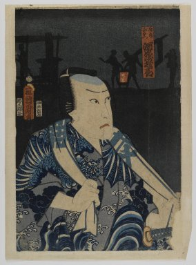 Toyohara Kunichika (Japanese, 1835-1900). <em>Actor Kawarazaki Gonjuro I as Gokuin Sen'emon</em>, 4th month of 1863. Woodblock print, 14 1/4 x 9 5/8 in. (36.2 x 24.4 cm). Brooklyn Museum, Anonymous gift, 76.151.22 (Photo: Brooklyn Museum, 76.151.22_IMLS_PS4.jpg)