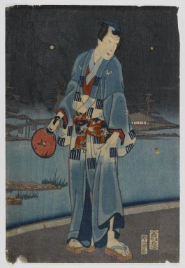 Toyohara Kunichika (Japanese, 1835-1900). <em>Gengi and Beauties Catching Fireflies, from the series Genji in Modern Style</em>, 4th month, 1861. Woodblock color print on paper, 14 x 9 1/2 in. (35.6 x 24.1 cm). Brooklyn Museum, Anonymous gift, 76.151.25 (Photo: Brooklyn Museum, 76.151.25_IMLS_PS4.jpg)