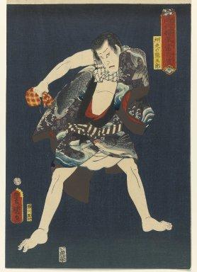 "Utagawa Kunisada (Toyokuni III) (Japanese, 1786-1865). <em>The Actor Ichikawa Kodanji IV (1812-1866) as Subashiri no Kumagoro, from the series ""Thieves in Designs of the Times,""</em> 1859, 6th month. Woodblock print, 14 1/2 x 9 7/8 in. (36.8 x 25.1 cm). Brooklyn Museum, Anonymous gift, 76.151.26 (Photo: Brooklyn Museum, 76.151.26_PS1.jpg)"