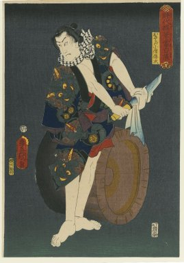"Utagawa Kunisada (Toyokuni III) (Japanese, 1786-1865). <em>The Actor Kawarazaki Gonjuro I (1838-1903) as Osarabakuzo Denji, from the series ""Thieves in Designs of the Time,""</em> 1859. Color woodblock print on paper, 14 5/8 x 10 1/16 in. (37.1 x 25.6 cm). Brooklyn Museum, Anonymous gift, 76.151.27 (Photo: Brooklyn Museum, 76.151.27_PS1.jpg)"