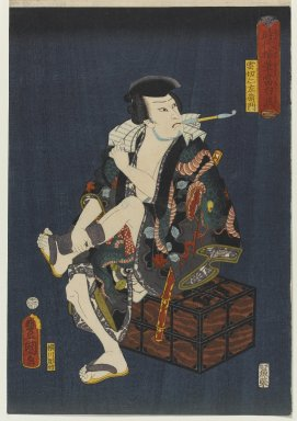 "Utagawa Kunisada (Toyokuni III) (Japanese, 1786-1865). <em>The Actor Kataoka Nizaemon VIII (1810-1863) as Kumokiri Nizaemon, from the series ""Thieves in Designs of the Time,""</em> 1859. Color woodblock print on paper, 14 1/2 x 9 7/8 in. (36.8 x 25.1 cm). Brooklyn Museum, Anonymous gift, 76.151.28 (Photo: Brooklyn Museum, 76.151.28_PS1.jpg)"