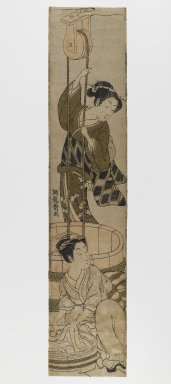 Isoda Koryusai (Japanese, ca. 1766-1788). <em>Women Washing Clothes at a Well</em>, circa 1780. Woodblock print, 23 3/4 x 5 in. (60.3 x 12.7 cm). Brooklyn Museum, Anonymous gift, 76.151.32 (Photo: Brooklyn Museum, 76.151.32_IMLS_PS4.jpg)