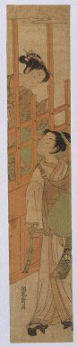 Isoda Koryusai (Japanese, ca. 1766-1788). <em>Courtesan Standing at the Bars of a Window Looking Out at a Youth in Komuso Attire</em>, ca. 1770. Woodblock Print, 26 1/8 x 4 15/16 in. (66.3 x 12.6 cm). Brooklyn Museum, Anonymous gift, 76.151.34 (Photo: Brooklyn Museum, 76.151.34_print_IMLS_SL2.jpg)