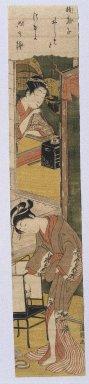 Torii Kiyotsune (Japanese, active 1760-1779). <em>Early Dawn in Summer</em>, circa 1770. Woodblock Print, 25 1/4 x 4 5/8 in. (64.1 x 11.7 cm). Brooklyn Museum, Anonymous gift, 76.151.36 (Photo: Brooklyn Museum, 76.151.36_print_IMLS_SL2.jpg)
