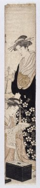 Hosoda Eishi (1756-1829). <em>Two Beauties</em>, ca. 1790, late impression. Woodblock Print, 25 3/8 x 4 7/8 in. (65.4 x 11.2 cm). Brooklyn Museum, Anonymous gift, 76.151.39 (Photo: Brooklyn Museum, 76.151.39_print_IMLS_SL2.jpg)