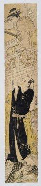 "Katsukawa Shunei (Japanese, 1762-1819). <em>Parody of Kabuki Drama ""Chushingura"", Act VII</em>, ca. 1780-1790. Woodblock print, 24 3/8 x 4 1/2 (61.9 x 11.4 cm). Brooklyn Museum, Anonymous gift, 76.151.46 (Photo: Brooklyn Museum, 76.151.46_print_IMLS_SL2.jpg)"