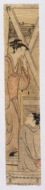 Kubo Shunman (Japanese, 1757-1820). <em>A Beauty and a Youth on a Boat under a Bridge</em>, ca. 1790. Woodblock print, 24 3/8 x 4 3/4 in. (62.0 x 12.1 cm). Brooklyn Museum, Anonymous gift, 76.151.47 (Photo: Brooklyn Museum, 76.151.47_print_IMLS_SL2.jpg)