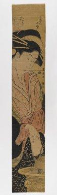 Utagawa Toyohiro (Japanese, 1773-1829). <em>Komurasaki of the Tamaya, from an untitled series of courtesan images</em>, ca. 1800-1810. Pillar-print format (hashira-e), 26 15/16 x 4 13/16 in. (68.4 x 12.2 cm). Brooklyn Museum, Anonymous gift, 76.151.48 (Photo: Brooklyn Museum, 76.151.48_IMLS_PS4.jpg)