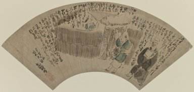 Yosa Buson (Japanese, 1716-1783). <em>Fan Painting</em>, 18th century. Ink and colors on paper, 6 11/16 x 18 1/2 in. (17 x 47 cm). Brooklyn Museum, Anonymous gift, 76.151.4. Creative Commons-BY (Photo: Brooklyn Museum, 76.151.4_IMLS_PS3.jpg)