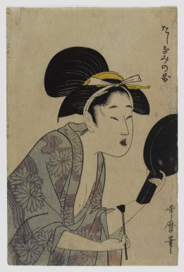 Kitagawa Utamaro (Japanese, 1753-1806). <em>Page from an Album or Illustrated Book</em>, 1735-1806. Woodblock print, 7 x 4 3/4 in. (17.8 x 12.1 cm). Brooklyn Museum, Anonymous gift, 76.151.5 (Photo: Brooklyn Museum, 76.151.5_IMLS_PS4.jpg)