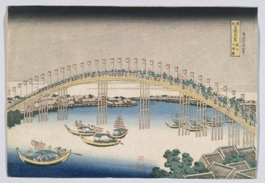 Katsushika Hokusai (Japanese, 1760-1849). <em>The Tenman Bridge in Settsu Province, from the series Remarkable Views of Bridges in Various</em>, ca. 1834. Color woodblock print on paper, 10 15/16 x 15 3/16 in. (27.8 x 38.6 cm). Brooklyn Museum, Anonymous gift, 76.151.6 (Photo: Brooklyn Museum, 76.151.6_print_IMLS_SL2.jpg)