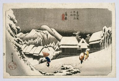 Utagawa Hiroshige (Ando) (Japanese, 1797-1858). <em>Kambara, from the series Fifty-three Stations of the Tōkaidō Road</em>, ca. 1834 or later. Color woodblock print on paper, Sheet: 9 7/8 x 14 3/4 in. (25.1 x 37.5 cm). Brooklyn Museum, Anonymous gift, 76.151.8 (Photo: Brooklyn Museum, 76.151.8_print_IMLS_SL2.jpg)