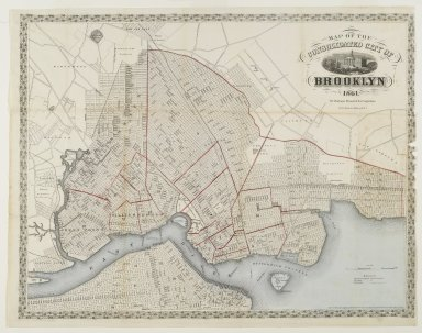 Unknown. <em>Map of the Consolidated City of Brooklyn</em>, 1861. Engraving with watercolor Brooklyn Museum, Gift of Barbara Head Millstein, 76.160.1 (Photo: Brooklyn Museum, 76.160.1_PS1.jpg)