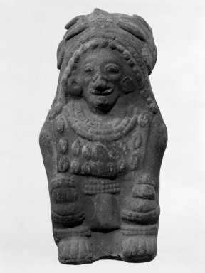 Jama Coaque. <em>Pressed Seated Figure</em>. Terracotta Brooklyn Museum, Gift of Egizia Modiano, 76.166.23. Creative Commons-BY (Photo: Brooklyn Museum, 76.166.23_bw.jpg)