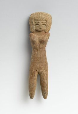 Valdivia. <em>Female Figurine</em>, 2600-1500 B.C.E. Ceramic, 4 5/16 x 1 1/8 x 5/8 in. (11 x 2.9 x 1.6 cm). Brooklyn Museum, Gift of Egizia Modiano, 76.166.41. Creative Commons-BY (Photo: Brooklyn Museum, 76.166.41_PS2.jpg)