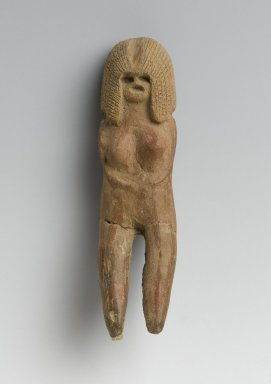 Valdivia. <em>Female Figurine</em>, 2600-1500 B.C.E. Ceramic, 3 1/2 x 15/16 x 3/4 in. (8.9 x 2.4 x 1.9 cm). Brooklyn Museum, Gift of Egizia Modiano, 76.166.42. Creative Commons-BY (Photo: Brooklyn Museum, 76.166.42_PS2.jpg)