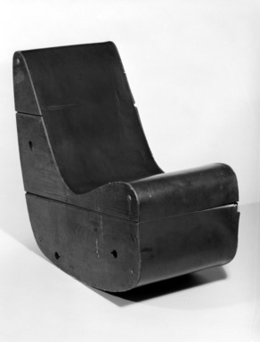 Frederick J Kiesler (American, born Ukraine, 1890-1965). <em>Correalist Rocker</em>, ca. 1942. Plywood, linoleum, 29 1/8 x 30 1/2 x 15 5/8 in.  (74.0 x 77.5 x 39.7 cm). Brooklyn Museum, Gift of Ruth Abrams, 76.169. Creative Commons-BY (Photo: Brooklyn Museum, 76.169_bw.jpg)