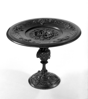 Antoine-Louis Barye (French, 1795-1875). <em>Footed Dish</em>, ca. 1848-1850. Cast bronze, 5 3/4 x 7 1/2 in. (14.6 x 19.1 cm). Brooklyn Museum, Gift of Dr. Maria A.S. de Reinis, 76.170.2. Creative Commons-BY (Photo: Brooklyn Museum, 76.170.2_bw.jpg)