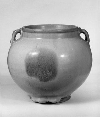 <em>Jar with Double Handles</em>, 1115-1368. Jun-ware porcelain (porcellaneous stoneware), 6 11/16 x 7 9/16 in. (17 x 19.2 cm). Brooklyn Museum, Gift of Bernice and Robert Dickes, 76.176. Creative Commons-BY (Photo: Brooklyn Museum, 76.176_bw.jpg)