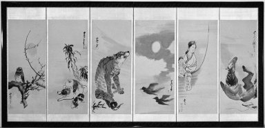 Nagasawa Rosetsu (Japanese, 1754-1799). <em>Screen of Assorted Subjects</em>, 18th century. Six-panel screen, ink and light color on paper, Overall, Two Outer Panels: 69 1/2 x 24 3/4 in. (176.5 x 62.9 cm). Brooklyn Museum, Gift of Dr. and Mrs. John Fleming, 76.177.1. Creative Commons-BY (Photo: Brooklyn Museum, 76.177.1_bw.jpg)