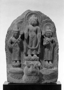 Possibly Mon-Dvaravati. <em>Buddha and Attendants</em>, 7th century or later. Gray stone, 18 x 13 1/2 in. (45.7 x 34.3 cm). Brooklyn Museum, Gift of Emily Manheim Goldman, 76.178.2. Creative Commons-BY (Photo: Brooklyn Museum, 76.178.2_bw.jpg)