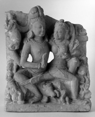 <em>Shiva and Parvati</em>, 10th-11th century. Sandstone, 20 x 15 3/4 x 5 in. (50.8 x 40 x 12.7 cm). Brooklyn Museum, Gift of Emily Manheim Goldman, 76.178.3. Creative Commons-BY (Photo: Brooklyn Museum, 76.178.3_bw.jpg)