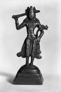 <em>Bodhisattva Manjushri</em>, 11th-12th century. Gilt bronze, H: 5 x 1 7/8 x 1 7/16 in. (12.7 x 4.7 x 3.6 cm). Brooklyn Museum, Gift of Arnold Leiberman, 76.181. Creative Commons-BY (Photo: Brooklyn Museum, 76.181_bw.jpg)