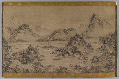 <em>Landscape of West Lake</em>, early 17th century. Hanging scroll, ink and color on paper, now mounted on board, Image: 15 1/4 x 25 3/8 in. (38.7 x 64.5 cm). Brooklyn Museum, Gift of Stanley J. Love, 76.182.2 (Photo: Brooklyn Museum, 76.182.2_IMLS_PS4.jpg)