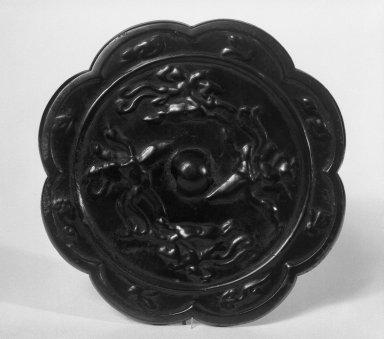 Heian. <em>Mirror</em>, 11th-12th century. Bronze, Diam.: 4 1/2 in. (11.4 cm). Brooklyn Museum, Gift of Stanley J. Love, 76.182.3. Creative Commons-BY (Photo: Brooklyn Museum, 76.182.3_bw.jpg)