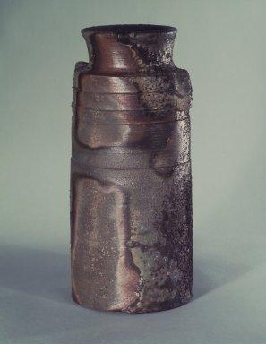 Yamamoto Izuru (Japanese, born 1944). <em>Tea-Ceremony Flower Vase</em>, ca. 1975. Bizen ware, stoneware, 9 15/16 x 4 7/8 in. (25.2 x 12.4 cm). Brooklyn Museum, Hon. and Mrs. Leon Polsky, 76.184.1. Creative Commons-BY (Photo: Brooklyn Museum, 76.184.1.jpg)