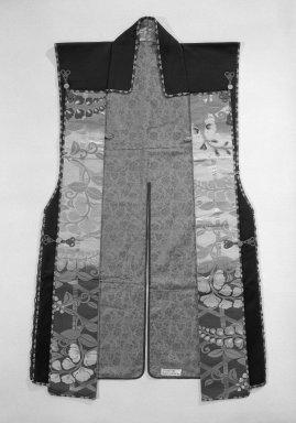 <em>Jimbaori (Vest-Like Garment Worn over Armor)</em>, 19th century. Deerskin, brocade, cloth, 27 x 42 in. (68.6 x 106.7 cm). Brooklyn Museum, Gift of Jeanette Rothbard, 76.186.2. Creative Commons-BY (Photo: Brooklyn Museum, 76.186.2_front_bw.jpg)