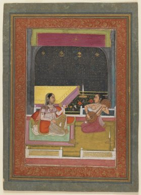 Indian. <em>An Evening's Music</em>, late 18th century. Opaque watercolor and gold on paper, sheet: 12 3/8 x 8 7/8 in.  (31.4 x 22.5 cm). Brooklyn Museum, Gift of Mr. and Mrs. Alfred Siesel, 76.187 (Photo: Brooklyn Museum, 76.187_IMLS_PS3.jpg)