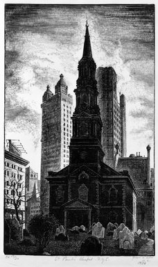 Grace Arnold Albee (American, 1890-1995). <em>St. Paul's Chapel, N.Y.C.</em>, 1936. Wood engraving on wove paper, Image: 8 3/4 x 5 1/4 in. (22.2 x 13.3 cm). Brooklyn Museum, Gift of the artist, 76.198.16. © artist or artist's estate (Photo: Brooklyn Museum, 76.198.16_bw.jpg)