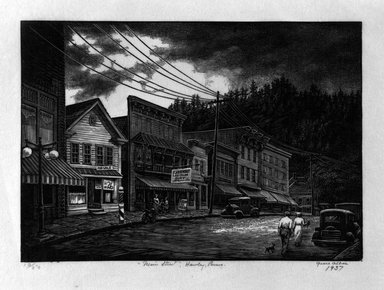 "Grace Arnold Albee (American, 1890-1995). <em>""Main Street"", Hawley, Penna.</em>, 1937. Wood engraving on paper, Image: 4 7/8 x 6 3/4 in. (12.4 x 17.1 cm). Brooklyn Museum, Gift of the artist, 76.198.17. © artist or artist's estate (Photo: Brooklyn Museum, 76.198.17_bw.jpg)"