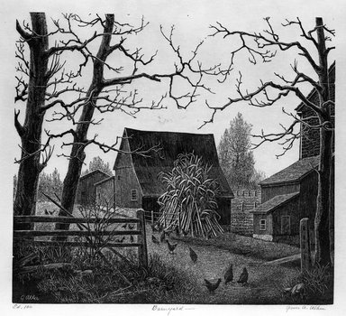 Grace Arnold Albee (American, 1890-1995). <em>Barnyard</em>, 1942. Wood engraving on wove paper, Image: 7 9/16 x 8 7/16 in. (19.2 x 21.4 cm). Brooklyn Museum, Gift of the artist, 76.198.32. © artist or artist's estate (Photo: Brooklyn Museum, 76.198.32_bw.jpg)