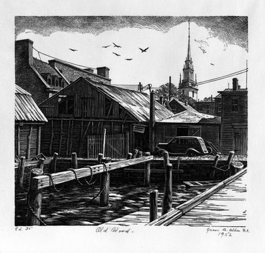 Grace Arnold Albee (American, 1890-1995). <em>Old Wood</em>, 1952. Wood engraving on vellum, 6 x 6 5/8 in. (15.2 x 16.8 cm). Brooklyn Museum, Gift of the artist, 76.198.47. © artist or artist's estate (Photo: Brooklyn Museum, 76.198.47_bw.jpg)