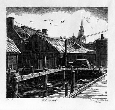 Grace Arnold Albee (American, 1890-1995). <em>Old Wood</em>, 1952. Wood engraving on vellum, 6 x 6 5/8 in. (15.2 x 16.8 cm). Brooklyn Museum, Gift of the artist, 76.198.47. © artist or artist's estate (Photo: Brooklyn Museum, 76.198.47_bw.jpg)