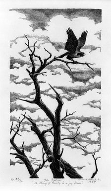 Grace Arnold Albee (American, 1890-1995). <em>The Falcon - A Thing of Beauty is a Joy Forever</em>, 1964. Wood engraving on vellum rag, 7 1/16 x 3 13/16 in. (17.9 x 9.7 cm). Brooklyn Museum, Gift of the artist, 76.198.61. © artist or artist's estate (Photo: Brooklyn Museum, 76.198.61_bw.jpg)