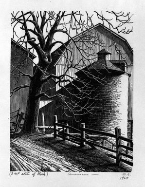 Grace Arnold Albee (American, 1890-1995). <em>Americana</em>, 1964. Wood engraving on paper, 6 1/4 x 4 3/4 in. (15.9 x 12.1 cm). Brooklyn Museum, Gift of the artist, 76.198.63. © artist or artist's estate (Photo: Brooklyn Museum, 76.198.63_bw.jpg)