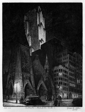 Grace Arnold Albee (American, 1890-1995). <em>Contrast-Rockefeller Center</em>, 1934. Wood engraving on paper, Sheet: 9 5/16 x 7 5/16 in. (23.7 x 18.6 cm). Brooklyn Museum, Gift of the artist, 76.198.85. © artist or artist's estate (Photo: Brooklyn Museum, 76.198.85_bw.jpg)