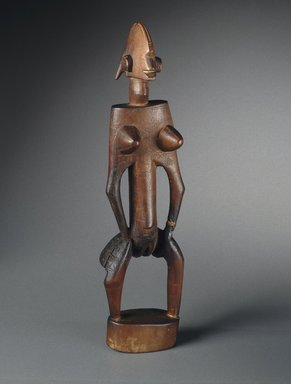 Bamana. <em>Figure of a Female (Nyeleniw)</em>, 19th or 20th century. Wood, metal, 22 1/2 x 6 1/8 x 5 1/2 in. (57.2 x 15.6 x 14 cm). Brooklyn Museum, Gift of Marcia and John Friede, 76.20.1. Creative Commons-BY (Photo: Brooklyn Museum, 76.20.1_SL1.jpg)