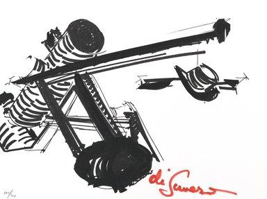 Mark di Suvero (American, born China, 1933). <em>[Untitled]</em>, 1973. Color serigraph, Sheet: 9 x 12 in. (22.9 x 30.5 cm). Brooklyn Museum, Gift of Theodore Kheel, 76.205.6. © artist or artist's estate (Photo: Brooklyn Museum, 76.205.6_PS2.jpg)