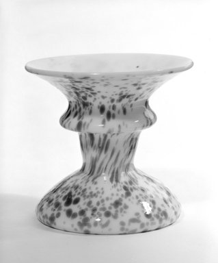 <em>Candlestick</em>, 19th century (possibly). Glass, 2 7/8 x 2 3/4 x 3 in. (7.3 x 7 x 7.6 cm). Brooklyn Museum, The C. Helme and Alice B. Strater Collection, Gift of C. Helme Strater, Jr., John B. Strater, and Margaret S. Robinson, 76.34.11. Creative Commons-BY (Photo: Brooklyn Museum, 76.34.11_bw.jpg)