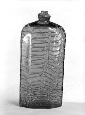 <em>Bottle</em>, 18th century (possibly). Glass, pewter., 7 3/8 in. (18.7 cm). Brooklyn Museum, The C. Helme and Alice B. Strater Collection, Gift of C. Helme Strater, Jr., John B. Strater, and Margaret S. Robinson, 76.34.15. Creative Commons-BY (Photo: Brooklyn Museum, 76.34.15_bw.jpg)