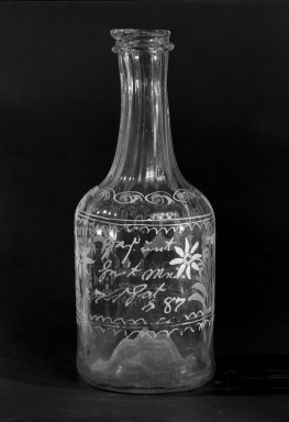 <em>Bottle</em>, possibly 1787. Glass, 7 7/8 in. (20 cm). Brooklyn Museum, The C. Helme and Alice B. Strater Collection, Gift of C. Helme Strater, Jr., John B. Strater, and Margaret S. Robinson, 76.34.16. Creative Commons-BY (Photo: Brooklyn Museum, 76.34.16_bw.jpg)