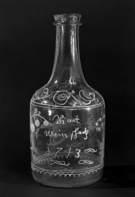 <em>Bottle</em>, 1743 (probably). Glass, 7 x 3 in. (17.8 x 7.6 cm). Brooklyn Museum, The C. Helme and Alice B. Strater Collection, Gift of C. Helme Strater, Jr., John B. Strater, and Margaret S. Robinson, 76.34.17. Creative Commons-BY (Photo: Brooklyn Museum, 76.34.17_bw.jpg)