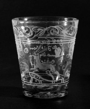 <em>Beaker</em>, 18th century (possibly). Glass, 3 7/8 x 3 3/8 in. (9.8 x 8.6 cm). Brooklyn Museum, The C. Helme and Alice B. Strater Collection, Gift of C. Helme Strater, Jr., John B. Strater, and Margaret S. Robinson, 76.34.19. Creative Commons-BY (Photo: Brooklyn Museum, 76.34.19_bw.jpg)