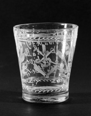 <em>Beaker</em>, ca. 1725. Glass, 3 1/8 x 2 in. (7.9 x 5.1 cm). Brooklyn Museum, The C. Helme and Alice B. Strater Collection, Gift of C. Helme Strater, Jr., John B. Strater, and Margaret S. Robinson, 76.34.20. Creative Commons-BY (Photo: Brooklyn Museum, 76.34.20_bw.jpg)