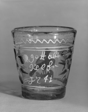 <em>Beaker</em>, ca. 1741. Glass, 3 3/4 x 1 3/4 in. (9.5 x 4.4 cm). Brooklyn Museum, The C. Helme and Alice B. Strater Collection, Gift of C. Helme Strater, Jr., John B. Strater, and Margaret S. Robinson, 76.34.21. Creative Commons-BY (Photo: Brooklyn Museum, 76.34.21_bw.jpg)